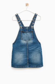 Used-effect denim dungaree skirt, Denim, hi-res