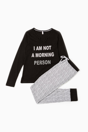 100% cotton pyjamas with printed lettering, Black/White, hi-res
