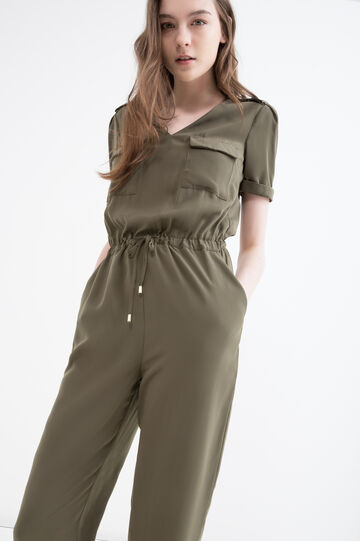 Solid colour jumpsuit with drawstring