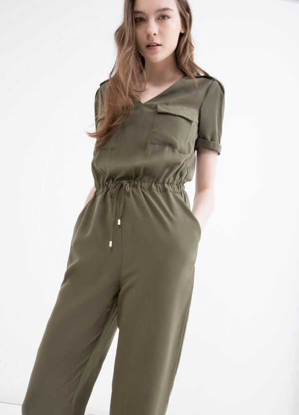 Solid colour jumpsuit with drawstring | OVS