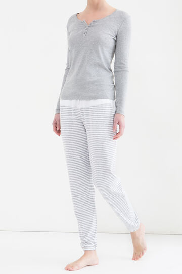 Stretch cotton pyjama trousers, White/Grey, hi-res
