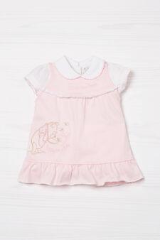 Biocotton dress and T-shirt set, White/Pink, hi-res