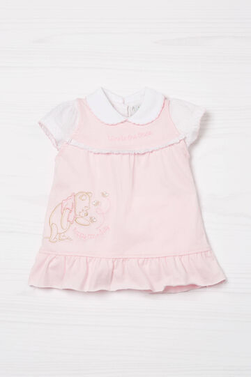 Biocotton dress and T-shirt set, White/Pink, hi-res