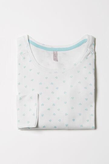 Maglia pigiama puro cotone fantasia, Bianco/Verde, hi-res