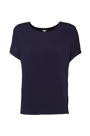 Smart Basic stretch viscose T-shirt, Navy Blue, hi-res