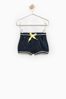 Shorts cotone stretch con coulisse, Blu navy, hi-res
