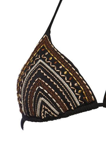 Patterned triangular top, Black, hi-res