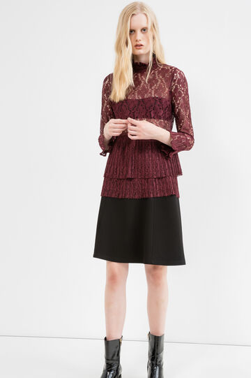 Lace blouse with floral pattern, Red, hi-res