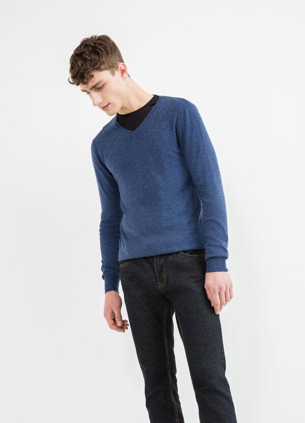 Jersey en mezcla de viscosa y lana con escote de pico | OVS