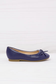 Leather look ballerina flats, Navy Blue, hi-res