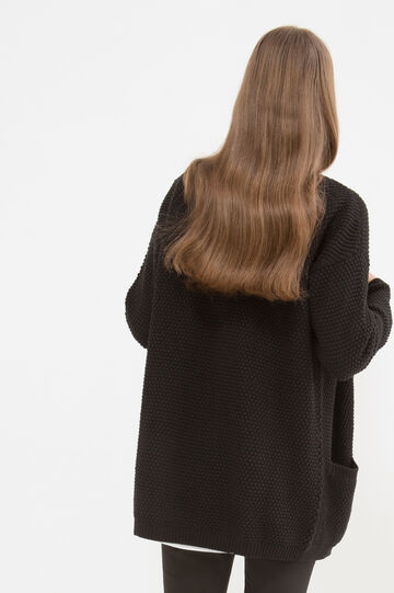 Cotton long cardigan with pockets, Black, hi-res