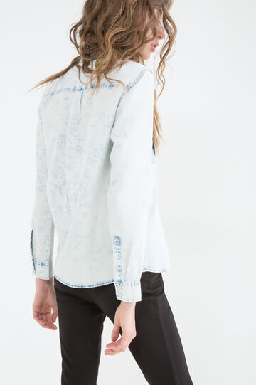 Misdyed denim blouse, Denim, hi-res