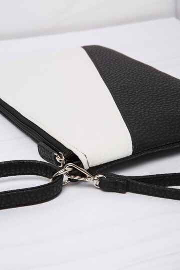 Two-colour leather look clutch bag, Black/White, hi-res