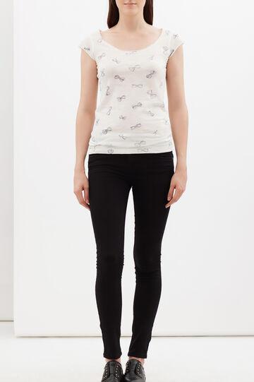 Printed T-shirt with round neckline., Milky White, hi-res