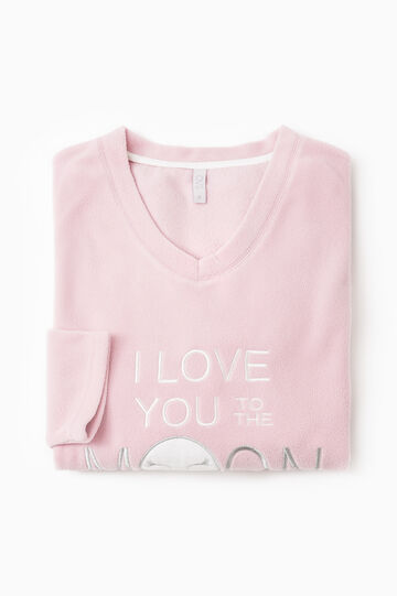 Solid colour fleece pyjama top, Pink, hi-res
