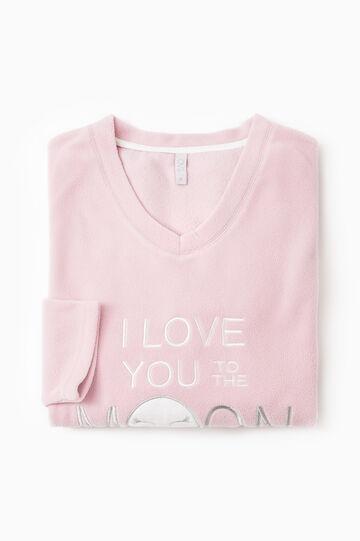 Solid colour fleece pyjama top, Pink, hi-res