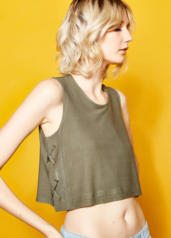 Stretch crop top with ties | OVS