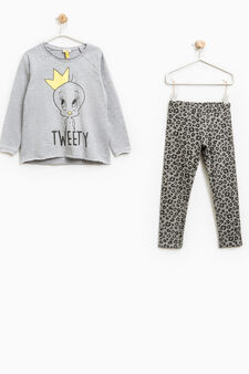 100% cotton outfit with Tweetie print, Grey, hi-res