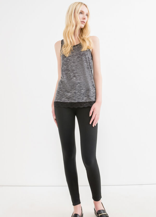 Viscose blend top with lace | OVS