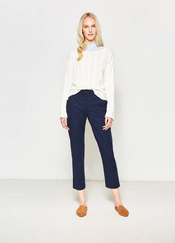 Pantaloni crop in cotone stretch | OVS