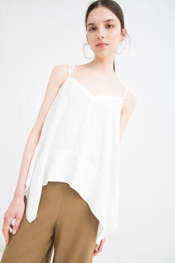 Viscose top with crisscross shoulder straps, White, hi-res