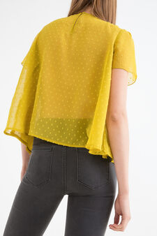Solid colour blouse with insert, Green, hi-res