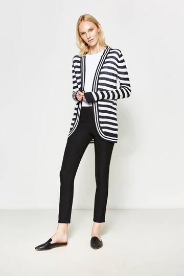 Striped open cardigan, White/Blue, hi-res