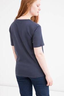 Curvy solid colour 100% cotton T-shirt., Blue, hi-res