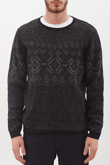 Crew-neck pullover with pixelated effect, Black/Grey, hi-res