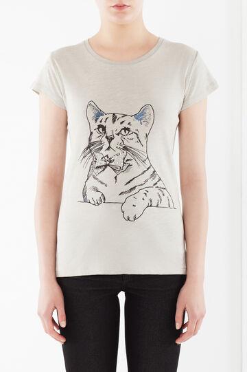 T-shirt cotone, Grigio chiaro melange, hi-res
