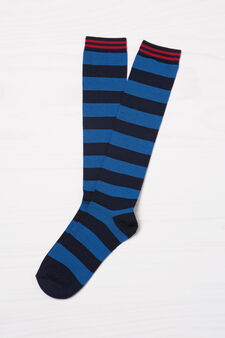 Two-pack stretch patterned socks, Navy Blue, hi-res