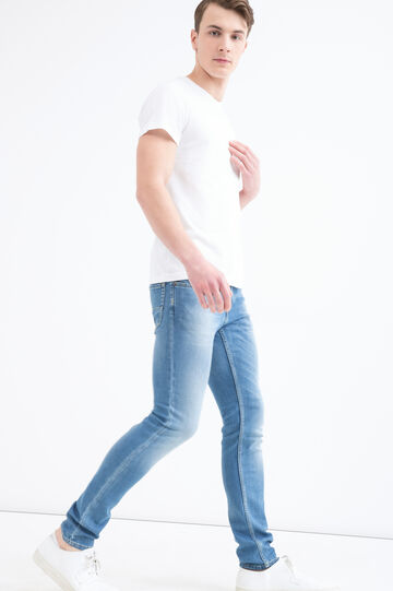 Jeans stretch slim fit effetto used, Denim, hi-res