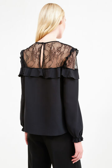 Solid colour blouse with lace and frills, Black, hi-res
