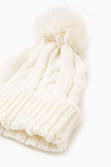 Beanie cap with turn-up, White, hi-res