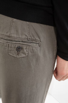 100% cotton regular fit chino trousers, Grey, hi-res