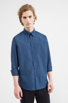 Casual shirt with button-down collar and small pocket, Blue, hi-res