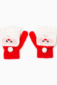 Fingerless gloves with mitten, White/Red, hi-res