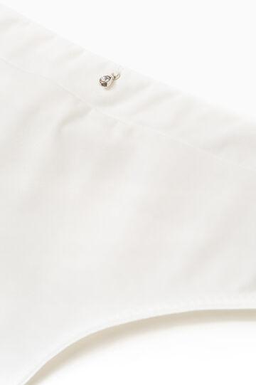Slip stretch tinta unita con strass, Bianco latte, hi-res