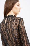 Stretch lace back-fastening blouse, Black, hi-res