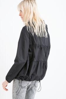 Hooded windbreaker, Black, hi-res
