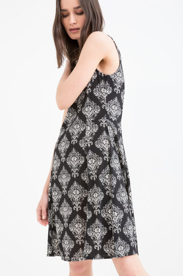 Patterned sleeveless dress in stretch viscose, White/Black, hi-res