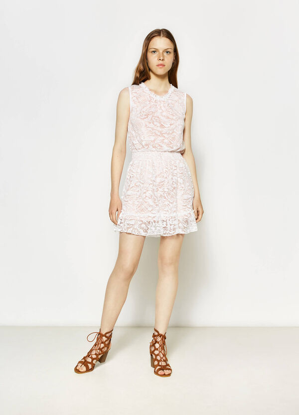 Lace sleeveless dress in cotton | OVS