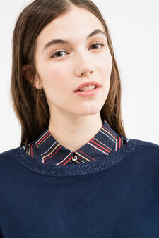 Pullover with three-quarter sleeves and lurex inserts, Navy Blue, hi-res