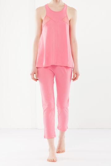 Pyjamas with mesh details, Pink, hi-res