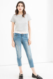 Jeans crop skinny fit stretch con strappi, Blu, hi-res