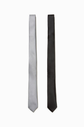 Two-pack solid colour ties, White/Grey, hi-res