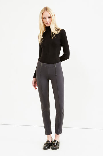 Solid colour stretch leggings with zip, Slate Grey, hi-res