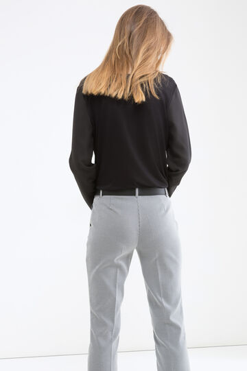 Pantaloni stretch tinta unita, Bianco/Blu, hi-res