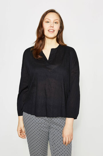 Curvy openwork blouse, Black, hi-res