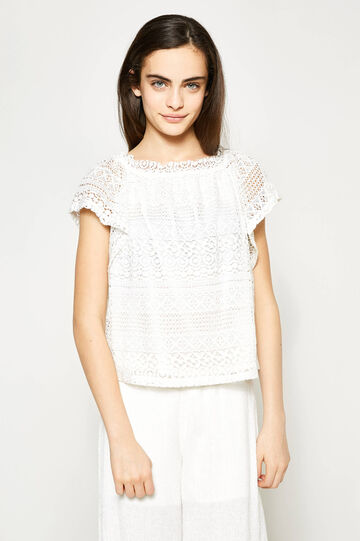 Teen lace T-shirt with cap sleeves